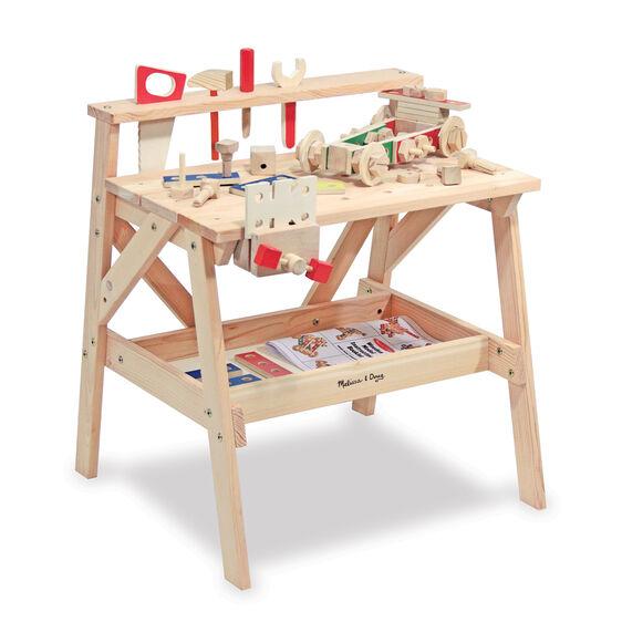 Banca de trabajo de madera firme para carpintería melissa and doug